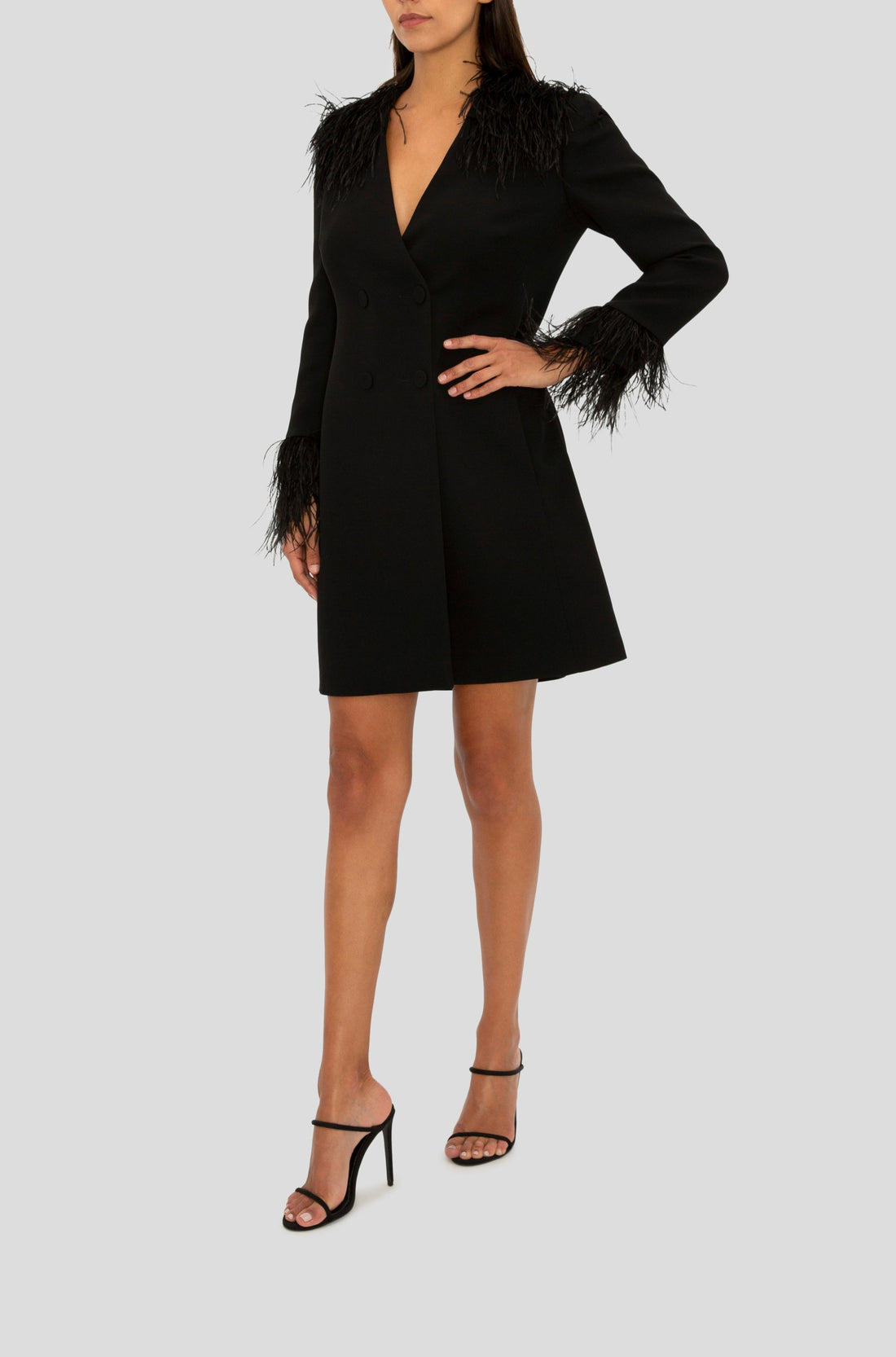 BLACK FEATHER TRIM JACKET