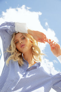BLUE STRIPE EASE INTO SUMMER SHIRT