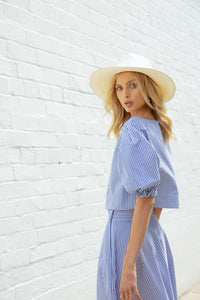 BLUE STRIPE EASE INTO SUMMER SKIRT