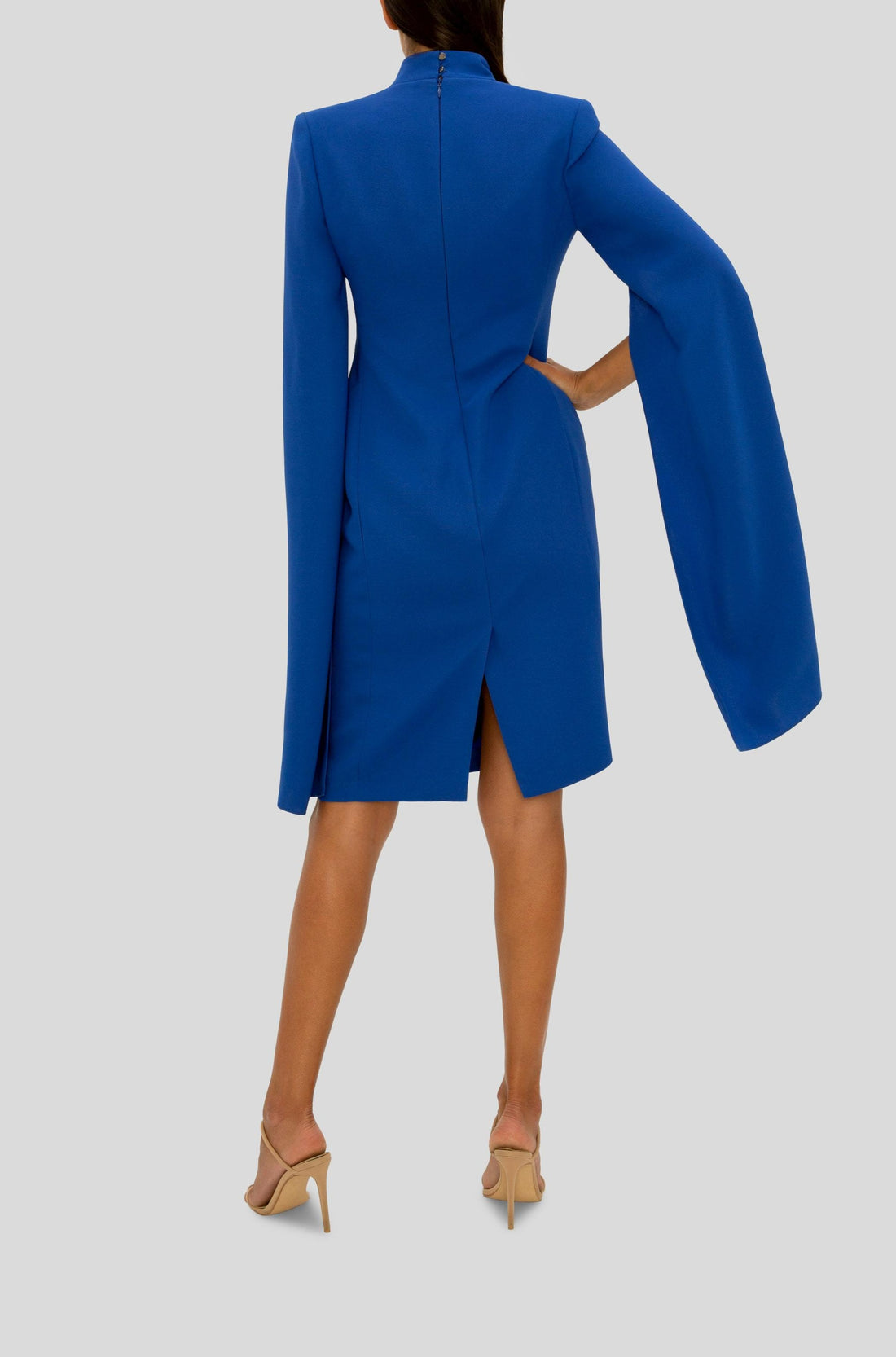 COBALT CELEBRATION CAPED SLEEVE DRESS