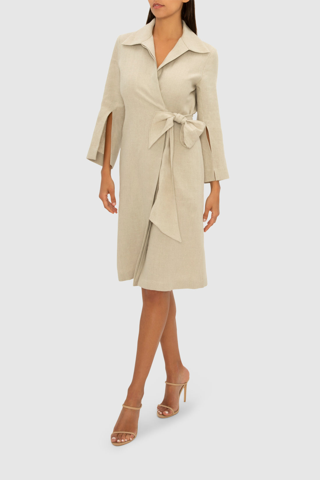 FLAX LINEN WORK OR PLAY WRAP DRESS