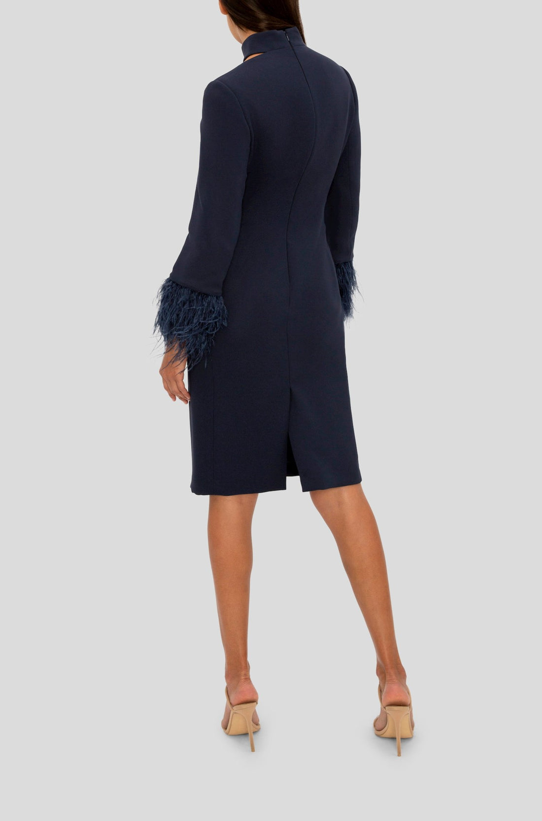 NAVY FEATHER TRIMMED COCKTAIL HOUR DRESS