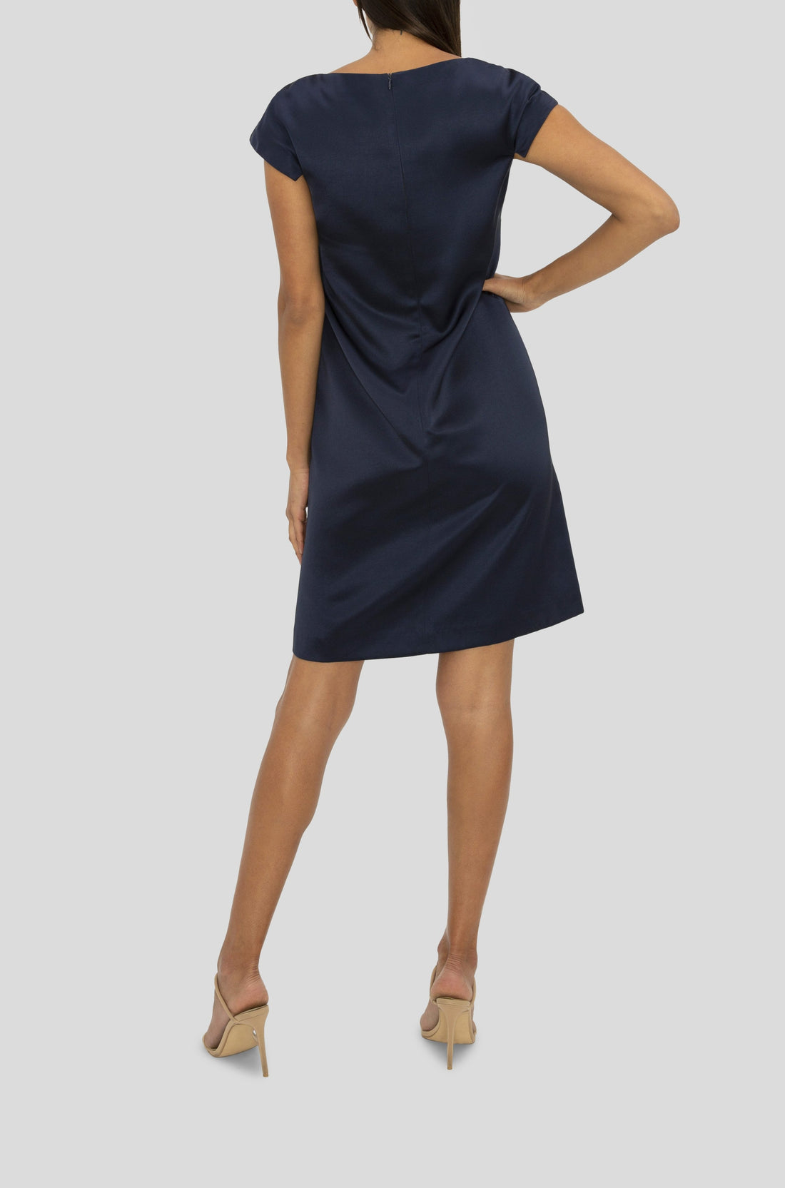 NAVY SATIN SABRINA DRESS