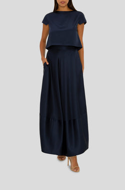 NAVY SATIN GIGI MAXI SKIRT