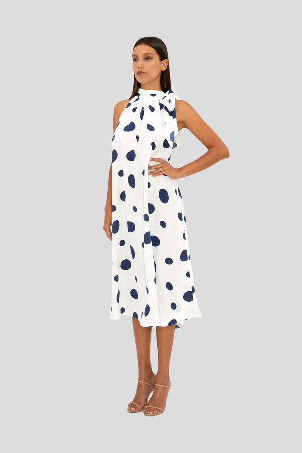 NAVY SPOT TRAPEZE DRESS