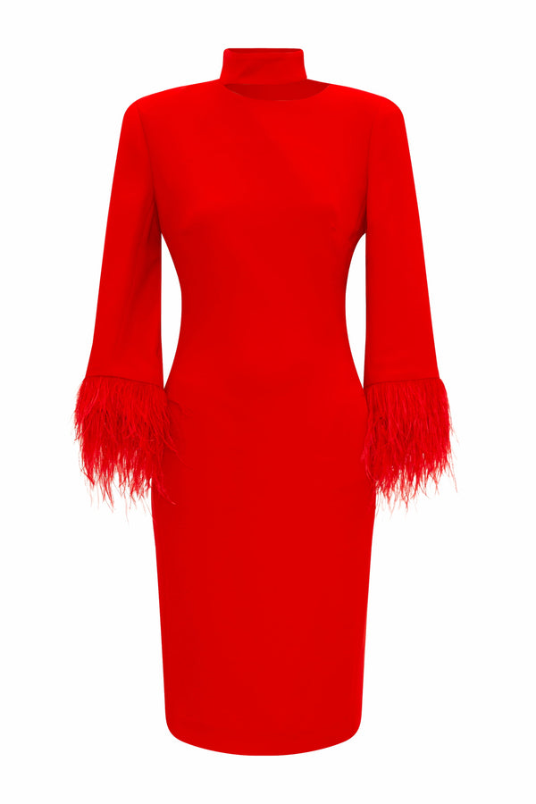 RED FEATHER TRIM COCKTAIL DRESS