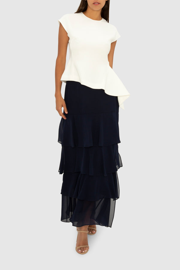 THE NAVY TIERED MAXI SKIRT