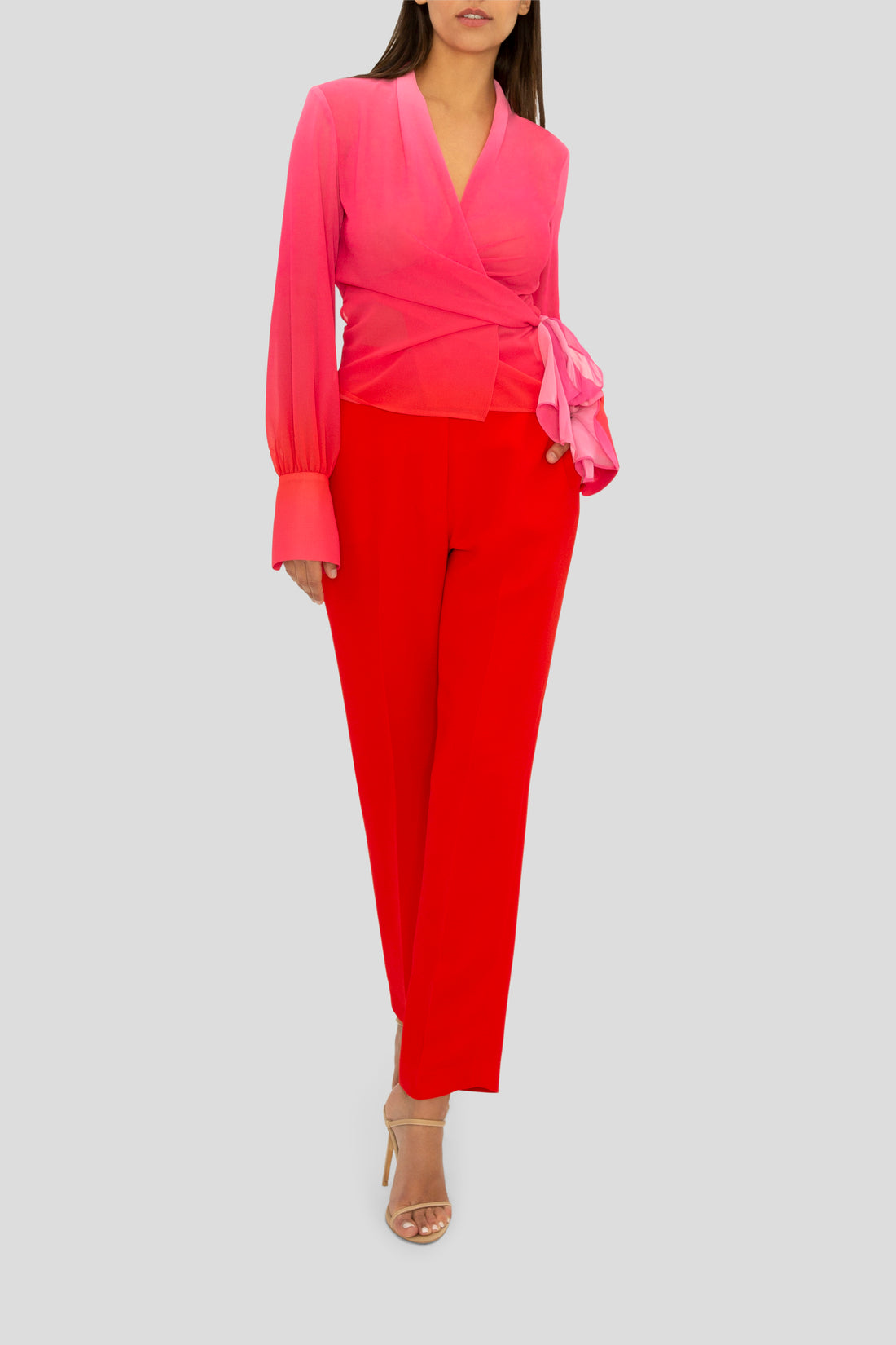 THE PASSION PINK OMBRE WRAP SHIRT