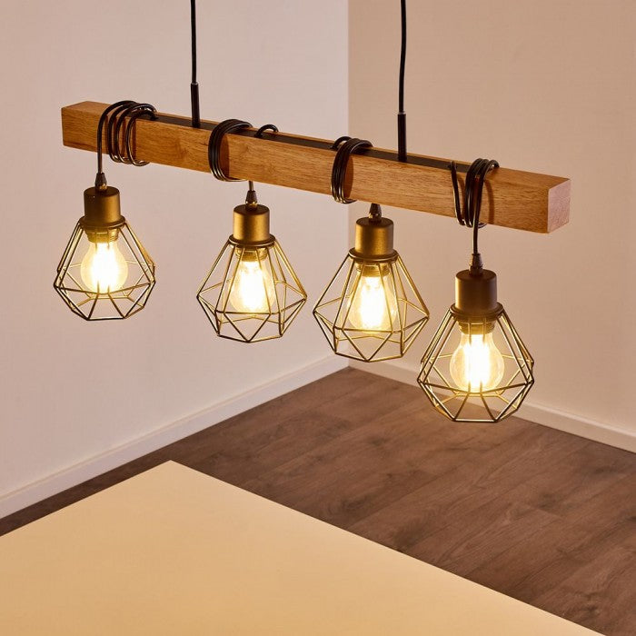 Suspension Industrielle Bois