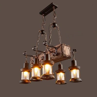 Suspension Industrielle Bois 1880