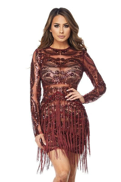 Burgundy Fringe and Sequins Dress - No Fashion Deadlines