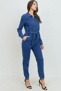 Tie Waist Denim Jumpsuit - No Fashion Deadlines