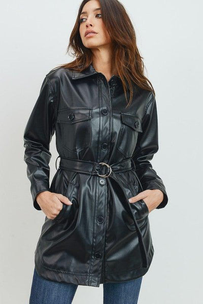 Faux Leather Belted Jacket - No Fashion Deadlines