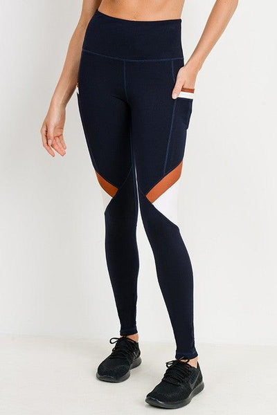 High-waist Slanted Color-block Leggings - No Fashion Deadlines