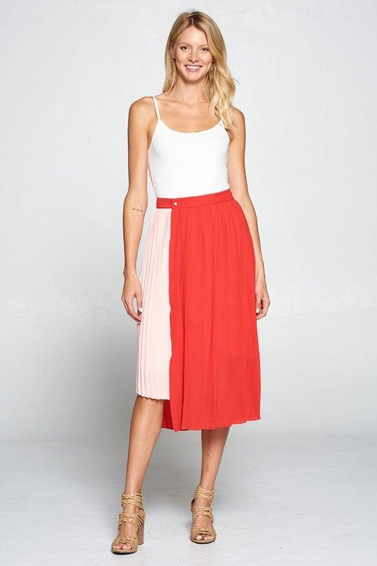 Color Blocked Pleated Wrap Midi Skirt