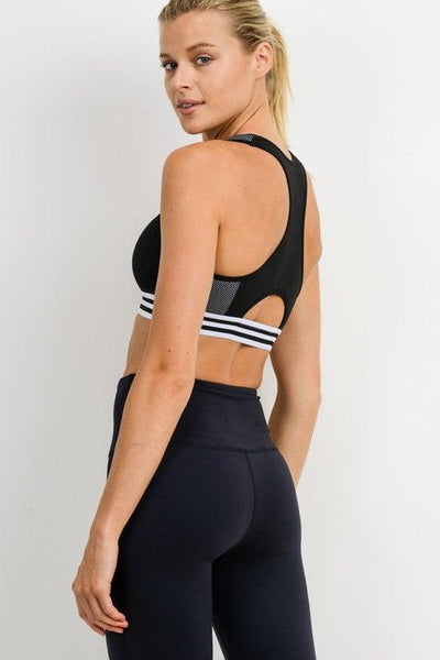 Black Racer-back Varsity Sports Bra - No Fashion Deadlines