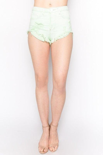 Iced Mint Pastel Green Cutoff Jean Shorts - No Fashion Deadlines