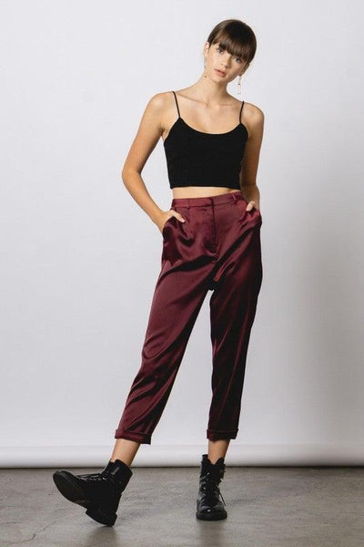 Burgundy Satin Style Ankle Pants - No Fashion Deadlines