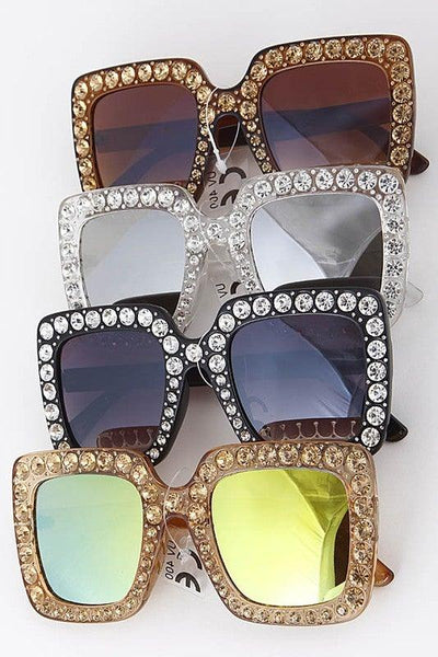 Square Rhinestone Detail Tinted Sunglasses - No Fashion Deadlines