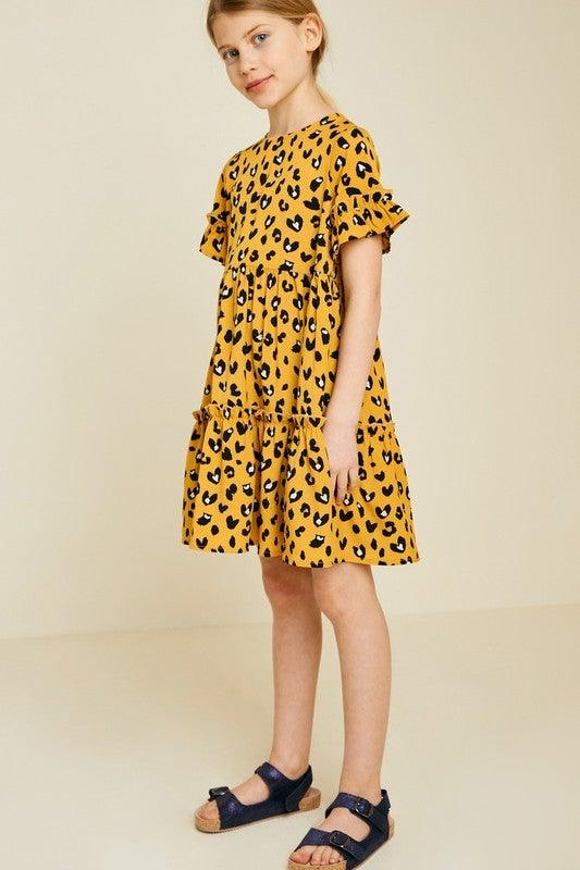 Girls Leopard Ruffle Baby-doll Dress - No Fashion Deadlines
