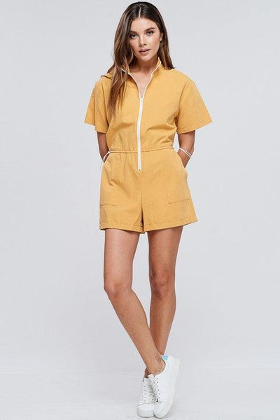 Mustard Front Zipper Romper - No Fashion Deadlines