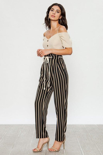 Black Tapered Striped Print Pants - No Fashion Deadlines