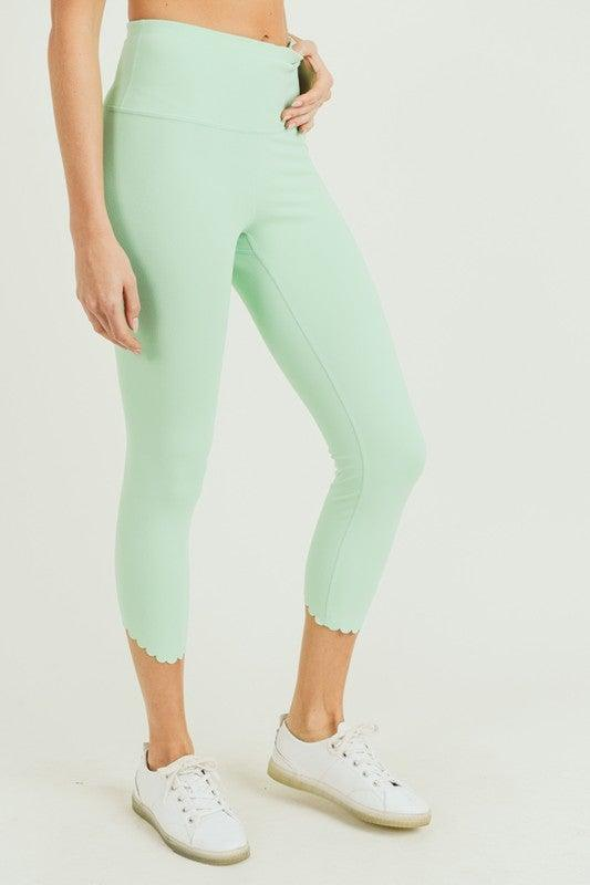 Mint Scalloped Laser Cut Leggings - No Fashion Deadlines