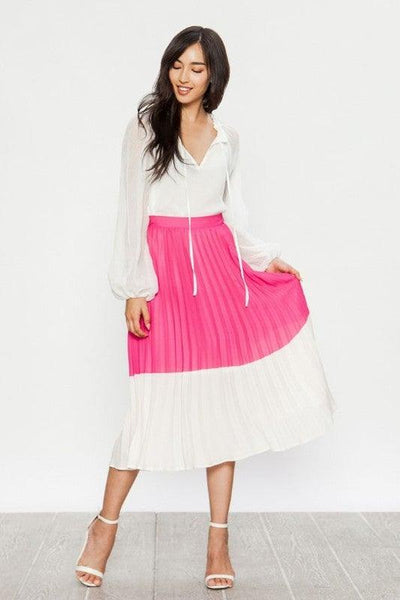 Pink Color Blocked Pleated Skirt - No Fashion Deadlines