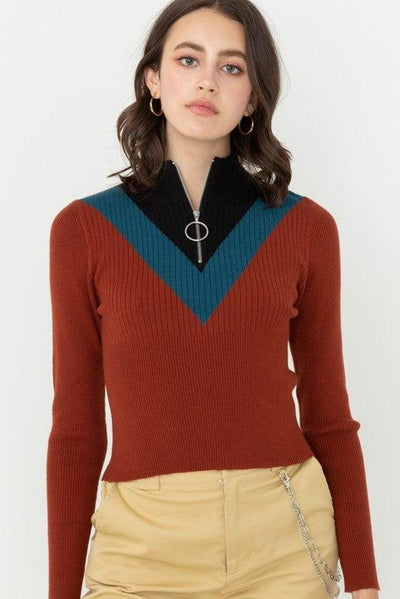 Rust High Neck Color Blocked Sweater Top - No Fashion Deadlines