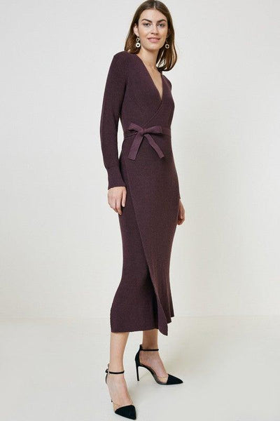 Plum Sweater Wrap Maxi Dress - No Fashion Deadlines
