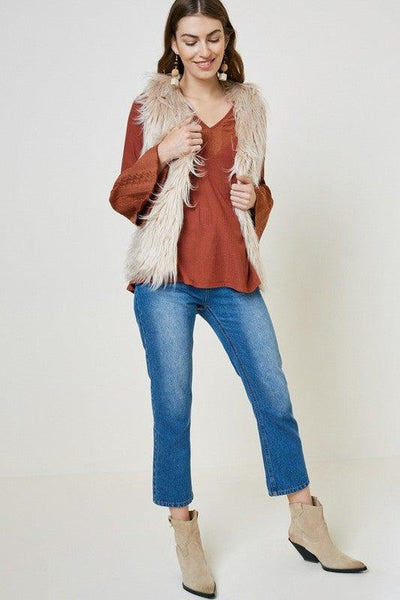 Beige Faux Fur Vest - No Fashion Deadlines