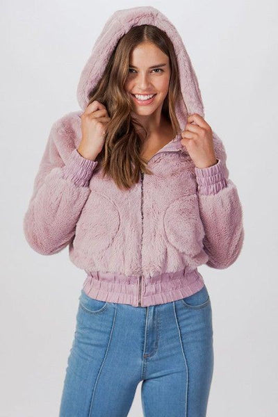 Mauve Faux Fur Bomber Jacket - No Fashion Deadlines