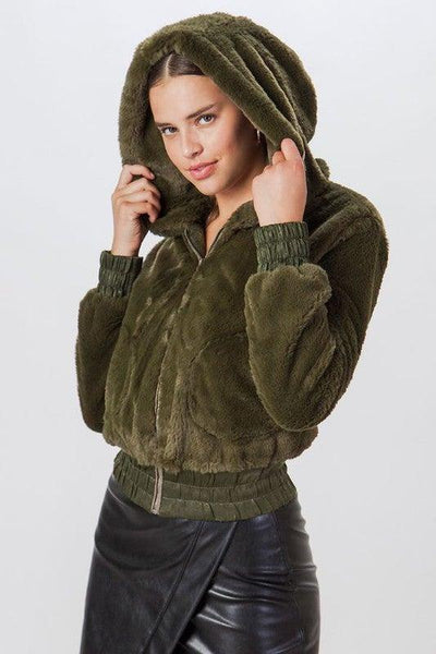 Olive Faux Fur Bomber Jacket - No Fashion Deadlines