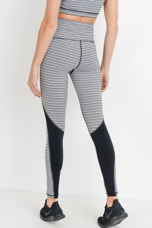 High-Waist Monochrome Color-Block Leggings - No Fashion Deadlines