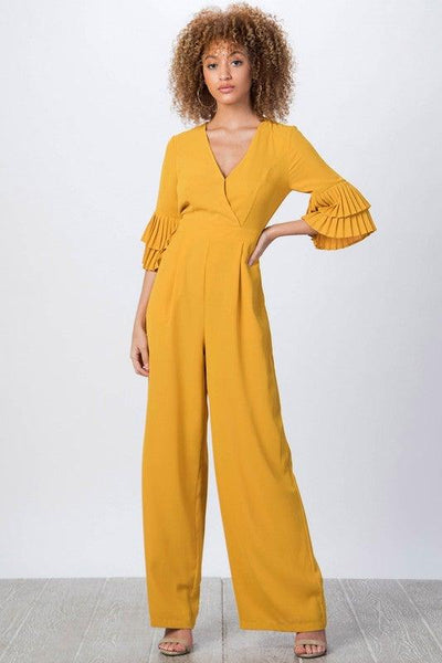 Mustard Ruffle Sleeves Jumpsuit - No Fashion Deadlines