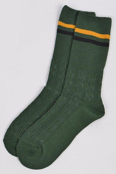 Green Color Blocked Ankle Socks - No Fashion Deadlines