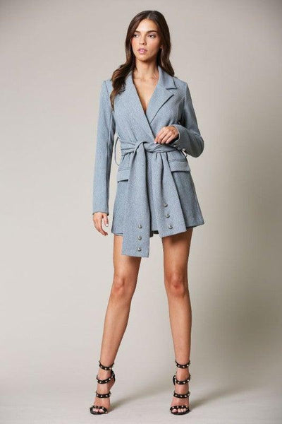 Grey Tie Waist Blazer Romper - No Fashion Deadlines