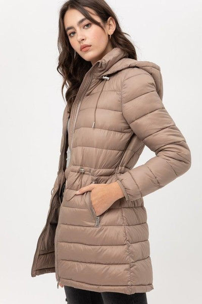 Taupe Light Weight Padded Puffer Coat - No Fashion Deadlines