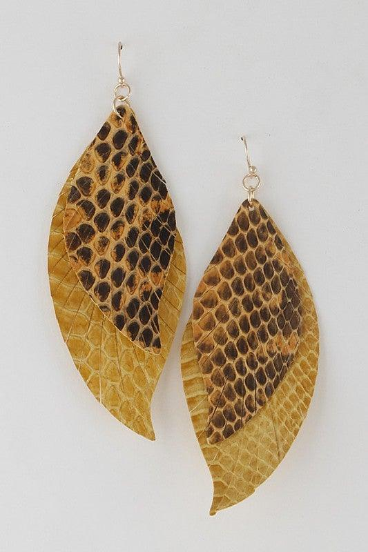 Yellow Double Leather Drop Earrings - No Fashion Deadlines