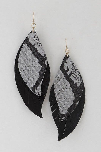 Black Double Leather Drop Earrings - No Fashion Deadlines