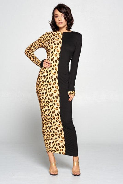 Leopard Half Print Body-con Dress - No Fashion Deadlines