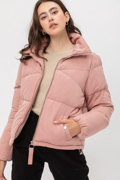 Mauve Oversized Boyfriend Zip Up Puffer Jacket - No Fashion Deadlines