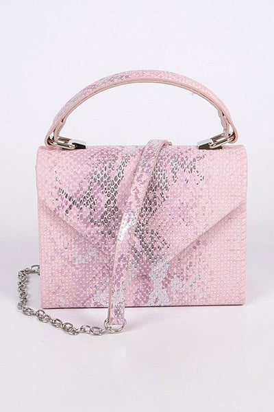 Pink Snakeskin Envelope Clutch Purse - No Fashion Deadlines