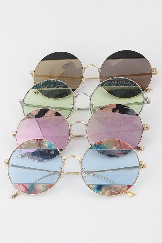 Tinted Print Circle Sunglasses
