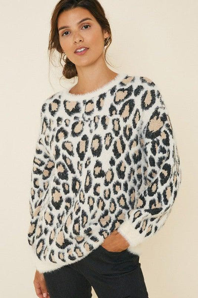 Ivory Leopard Mohair Pull Over Sweater - No Fashion Deadlines