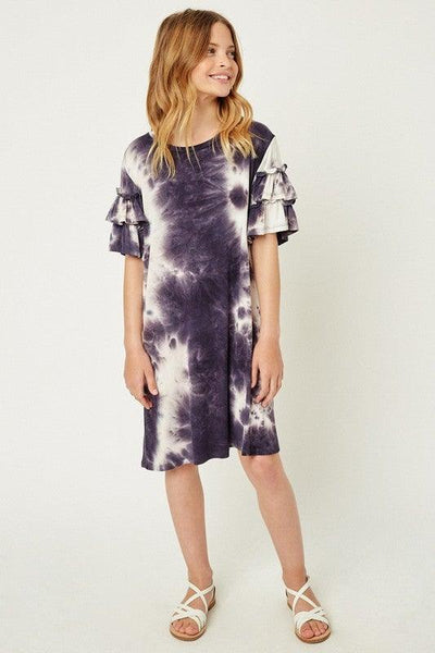 Girls Navy Tie Dye Dress