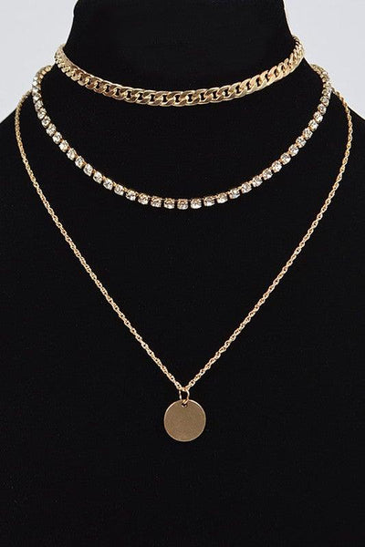 Gold Three Layer Pendant Necklace - No Fashion Deadlines