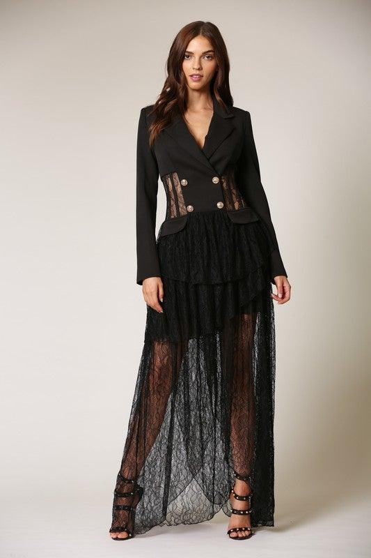 Black Lace Maxi Blazer Dress