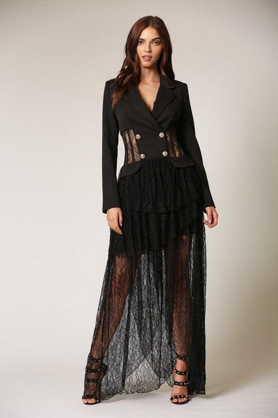 Black Lace Maxi Blazer Dress - No Fashion Deadlines