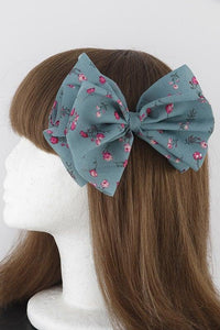 Teal Rose Ribbon Hair Clip